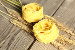 Pasta on the table ready to cook spikelets Stock Photo