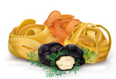 Pasta tagliatelle and black truffle Stock Photo