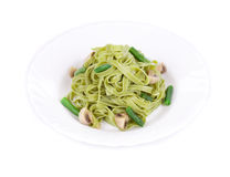 Pasta tagliatelle with green peas Stock Images
