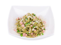 Pasta tagliatelle with green peas Royalty Free Stock Image