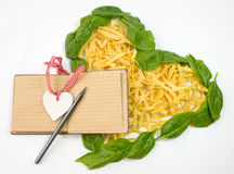 Pasta tagliatelle heart shape Royalty Free Stock Image