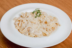 Pasta Tagliatelle with mushrooms and chicken Stock Photography