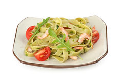 Pasta tagliatelle with shrimp Stock Photo