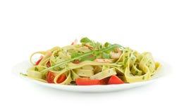 Pasta tagliatelle with shrimp Royalty Free Stock Photo