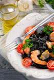 Pasta tagliolini ink squid Royalty Free Stock Photo