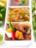 Pasta tailandesa do pimentão de três estilos (Nam Prik) - alimento tailandês popular Fotografia de Stock Royalty Free