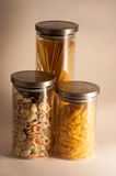 Pasta. Tipical mediterranean italian pasta in box of glass Royalty Free Stock Image