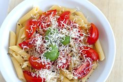 Italian flag food-made with green basil, white cheese and red tomatoes. Pasta with tomato basil and parmisan: Italian flag ready to eat stock photos