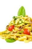 Pasta with tomato and basilia Stock Photos