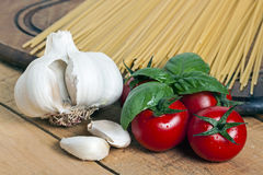 pasta, tomato and garlic Stock Photo