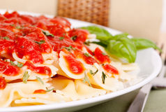 Pasta with tomato marinara royalty free stock photo