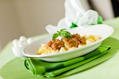Pasta with Tomato meat sauce Royalty Free Stock Image