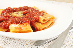 Pasta with tomato meat sauce Royalty Free Stock Photo
