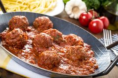 Pasta in tomato-meat sauce Royalty Free Stock Photography
