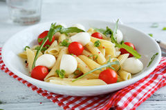 Pasta with tomato and mozzarella slices in a bowl on napkin Royalty Free Stock Photos