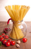 Pasta, tomato, pepper and garlic Royalty Free Stock Image