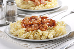 Pasta with tomato and prawns Stock Image