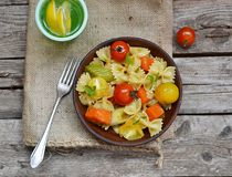 Pasta with tomato and pumpkin Royalty Free Stock Image