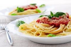 Pasta and tomato sauce royalty free stock photos