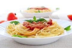 Pasta and tomato sauce Stock Photos
