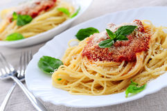 Pasta and tomato sauce Royalty Free Stock Photo