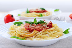 Pasta and tomato sauce royalty free stock image