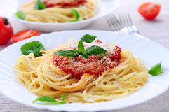Pasta and tomato sauce stock photography