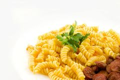 Pasta And Tomato Sauce. Close up view of pasta with tomato sauce Stock Image
