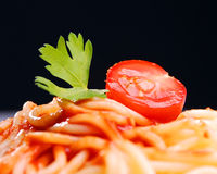 Pasta with tomato sauce. Close-up shot Stock Photo