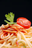 Pasta with tomato sauce. Close-up shot Stock Images
