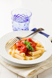 Pasta with Tomato Sauce and Basil Royalty Free Stock Photos