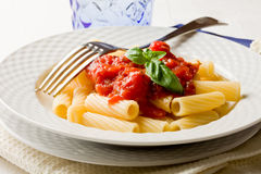 Pasta with Tomato Sauce and Basil Royalty Free Stock Images