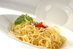 Pasta with tomato sauce and basil. White Pasta dishes - spaghetti with tomato sauce and basil stock images