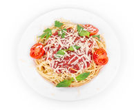 Pasta with tomato sauce and basil. Royalty Free Stock Photography