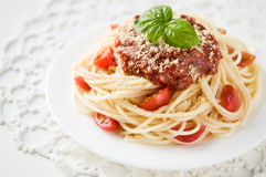 Pasta with tomato sauce and cheese Stock Photos
