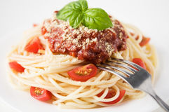 Pasta with tomato sauce and cheese Royalty Free Stock Photography