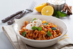 Pasta with tomato sauce and chickpeas Royalty Free Stock Images
