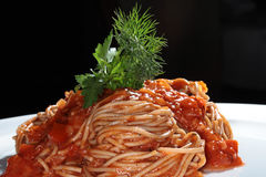 Pasta with tomato sauce Stock Photography