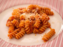 Pasta with tomato sauce close up Royalty Free Stock Photography