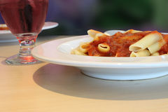 Pasta and tomato sauce dish Royalty Free Stock Photos