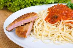 Pasta with tomato sauce and Escalope chasseur Stock Photography