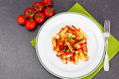 Pasta with Tomato Sauce Ketchup and Saffron Stock Image