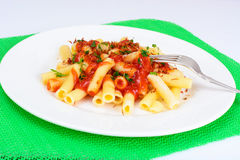 Pasta with Tomato Sauce Ketchup and Saffron Royalty Free Stock Photo