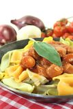 Pasta with sausage stew Royalty Free Stock Photography