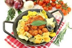 Pasta with sausage stew Stock Photos