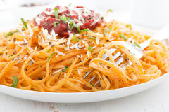 Pasta with tomato sauce and parmesan cheese, close-up Royalty Free Stock Photos