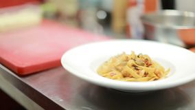 Pasta With Tomato Sauce And Parmesan. Italian pasta with sauce and parmesan cheese, served on a white plate stock footage