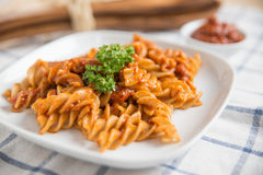 Pasta in tomato sauce Royalty Free Stock Image