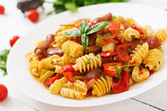 Pasta with tomato sauce with sausage Stock Photography
