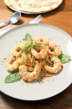 Pasta with tomato sauce, shrimp Royalty Free Stock Photography